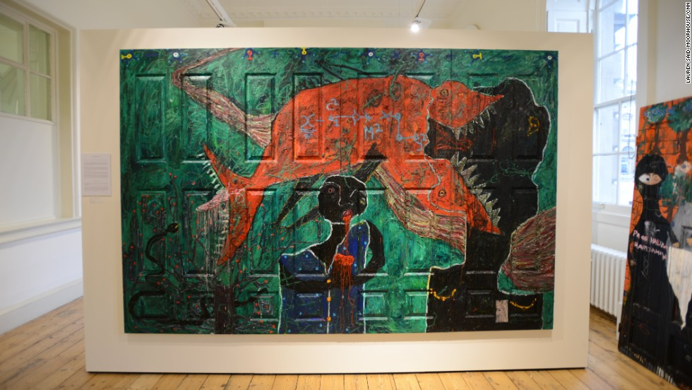 <em>The Prowess of a Mutant Underdog, Adjani Okpu-Egbe, 2014</em><br /><br />Cameroon artist Adjani Okpu-Egbe uses mixed media to reflect on his personal relationships. In The Power of a Mutant Underdog, he depicts his tumultuous relationship with his father, who disapproved Okpu-Egbe's choice to pursue an art over a career in business. Today, Okpu-Egbe uses profits from his art to pay for his ailing father's health and hospital stays, a subject that is also addressed in his paintings.