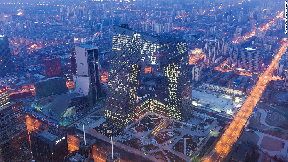 "The CCTV headquarters, located in Beijing, was designed by OMA. It's nicknamed ""big pants"" by locals for its resemblance to trousers."