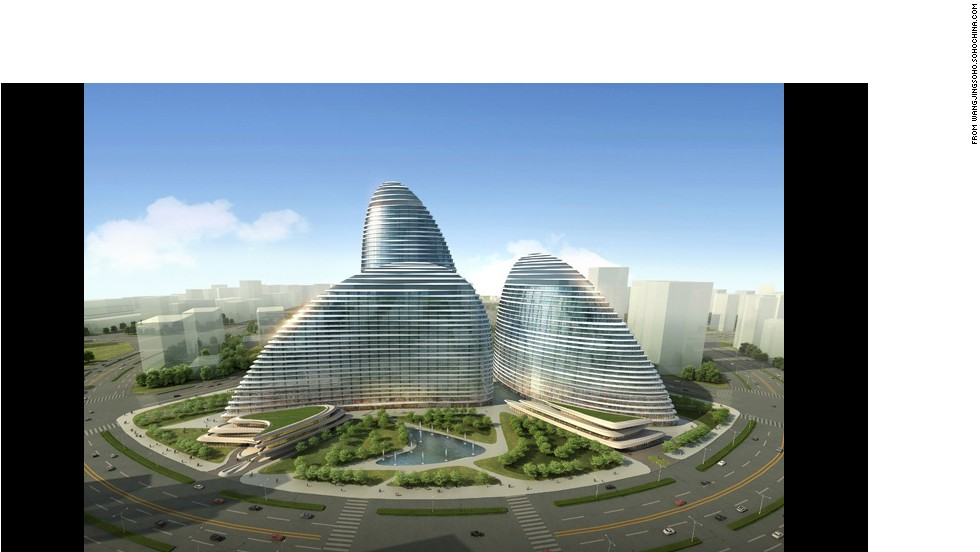 The Wangjing SOHO project in Beijing was designed by Pritzker Prize laureate Zaha Hadid who took inspiration from Chinese fans. Critics however see the curvaceous towers as a bunch of pebbles thrown together.