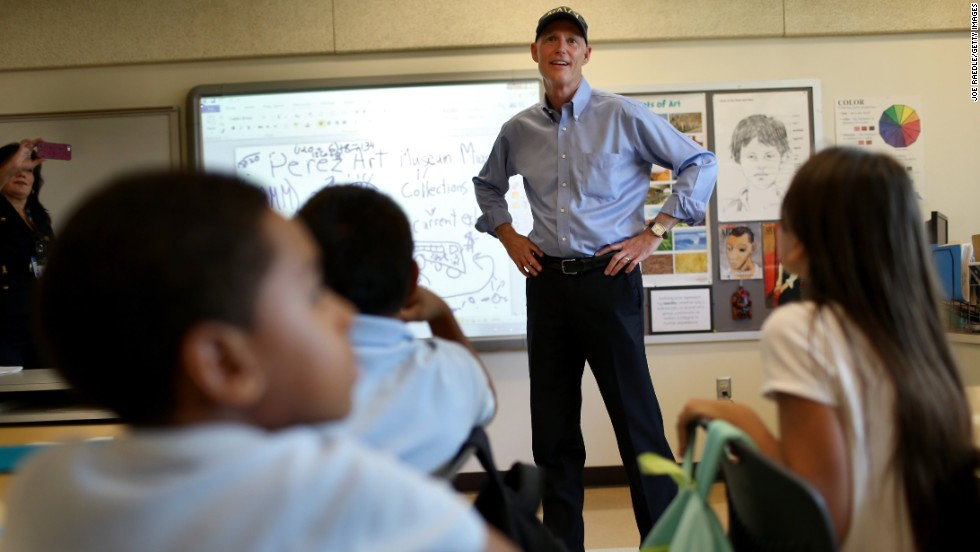 Scott visits Miami's Southside Elementary School in August.