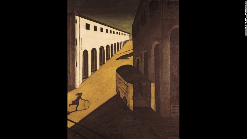 "Not all European artists expressed the period's anxieties in the same manner. Giorgio de Chirico's ""Melancholy and Mystery of a Street"" (1914) conjures post-apocalyptic stillness and disquieting anticipation.  A girl rolls her hoop across a sunny square, unaware of the hearse that looms in shadow -- the metaphor, perhaps, of a continent hurtling toward the void."