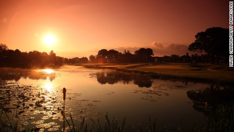 The par 4, 18th green (R) and the par 4, 9th grees at sunrise on The Brabazon Course at The Belfry on May 25, 2009 in Wishaw, Sutton Coldfield, England. (Photo by David Cannon/Getty Images)
