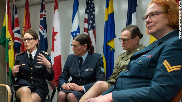 Ttransgender Maj. Alexandra Larsson of the Swedish Armed Forces, from left, speaks alongside fellow transgenders Sgt. Lucy Jordan of the New Zealand Air Force, Maj. Donna Harding of the Royal Australian Army Nursing Corps and Corp. Natalie Murray of the Canadian Forces at a conference on transgenders in the military in Washington, D.C.