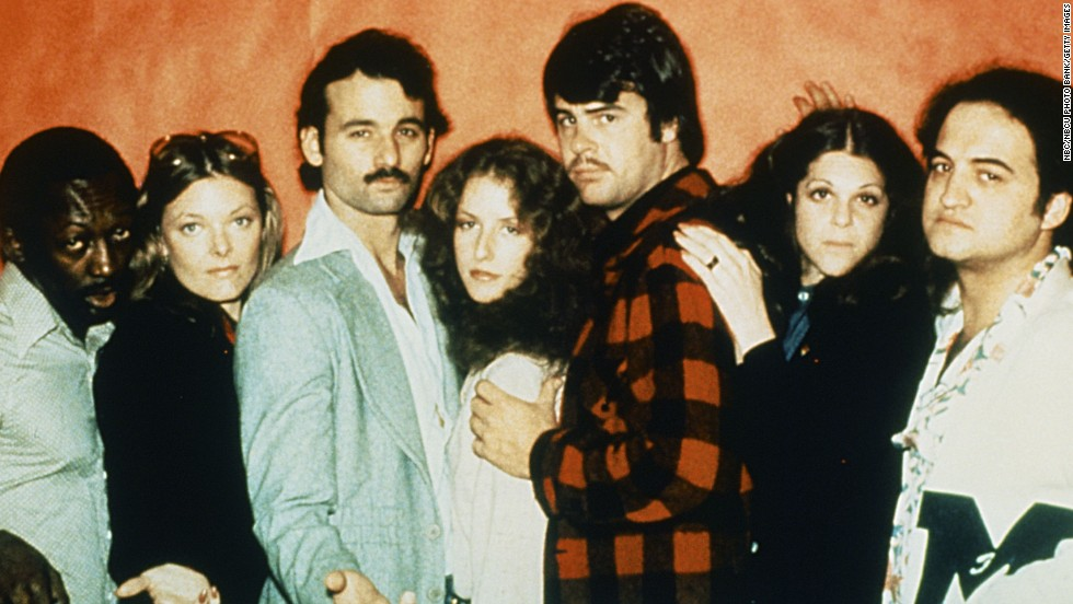 "Murray was part of the ""Saturday Night Live"" cast starting in the show's second season. He got off to <a href=""http://www.openculture.com/2014/10/bill-murrays-apology-1977.html"" target=""_blank"">a slow start</a>, but soon became a favorite. From left to right, Garrett Morris, Jane Curtin, Bill Murray, Laraine Newman, Dan Aykroyd, Gilda Radner and John Belushi."