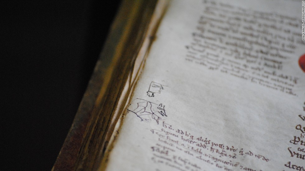 Doodles were commonly drawn on the back or front pages of books, which were intended to be glued onto the covers, hiding the doodles. But some are found in the margins, as well. These may have been drawn by bored students.