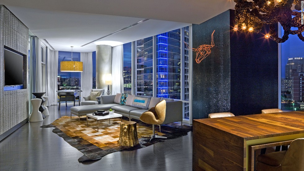 The Extreme Wow suite at the W Dallas-Victory hotel overlooks the American Airlines Center and other Victory Park hotspots. The foosball table may make you late for meetings.
