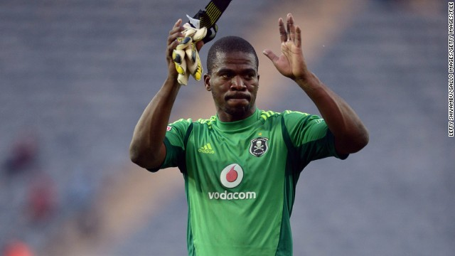 (FILE PHOTO) South African international and Orlando Pirates captain Senzo Meyiwa has died after being shot in Cape Town. SOWETO, SOUTH AFRICA - MAY 18: Senzo Meyiwa after the match during the Absa Premiership match between Orlando Pirates and Maritzburg United at Orlando Stadium on May 18, 2013 in Soweto, South Africa. (Photo by Lefty Shivambu/Gallo Images/Getty Images)