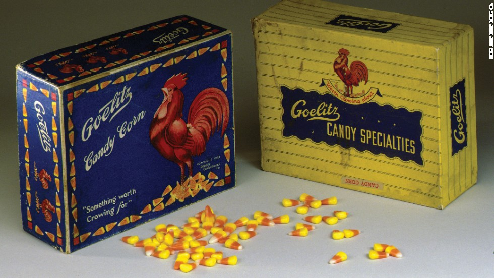 "The blue Goelitz box from the mid-1900s promises ""something worth crowing for."" Today, Brach's and Jelly Belly are the two leading U.S. candy corn manufacturers."