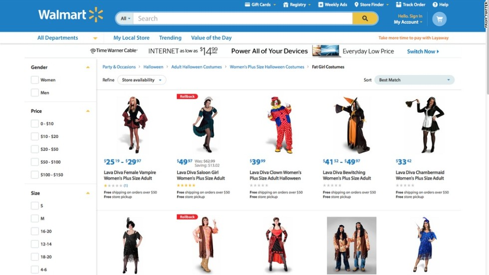 """""""Not sure labeling these as 'Fat Girl Costumes' is the best approach."""" Twitter user Kristyn Washburn <a href=""""https://twitter.com/ItsWithaY/status/524671356550787073/photo/1"""" target=""""_blank"""">tweeted</a> at Walmart on October 21, after discovering how the plus-size Halloween costumes for women were labeled. The retail giant apologized six days later, after <a href=""""http://jezebel.com/walmarts-website-features-a-section-of-fat-girl-costum-1651125569"""" target=""""_blank"""">media outlets like Jezebel</a> reported on the classification. It's currently investigating how the labeling occurred. """"This never should have been on our site. It is unacceptable and we apologize,"""" said Ravi Jariwala, a spokesperson for Walmart. """"We worked quickly to remove it this morning and are taking additional steps to ensure this never happens again."""""""