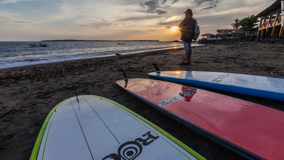 Carlos Deshon (pictured), who some consider the grandfather of surfing in Nicaragua, can often be found on the beach in Corinto. He's been surfing in Nicaragua for 30 years. Corinto is also popular for paddle boarding, which is relatively new to Nicaragua.