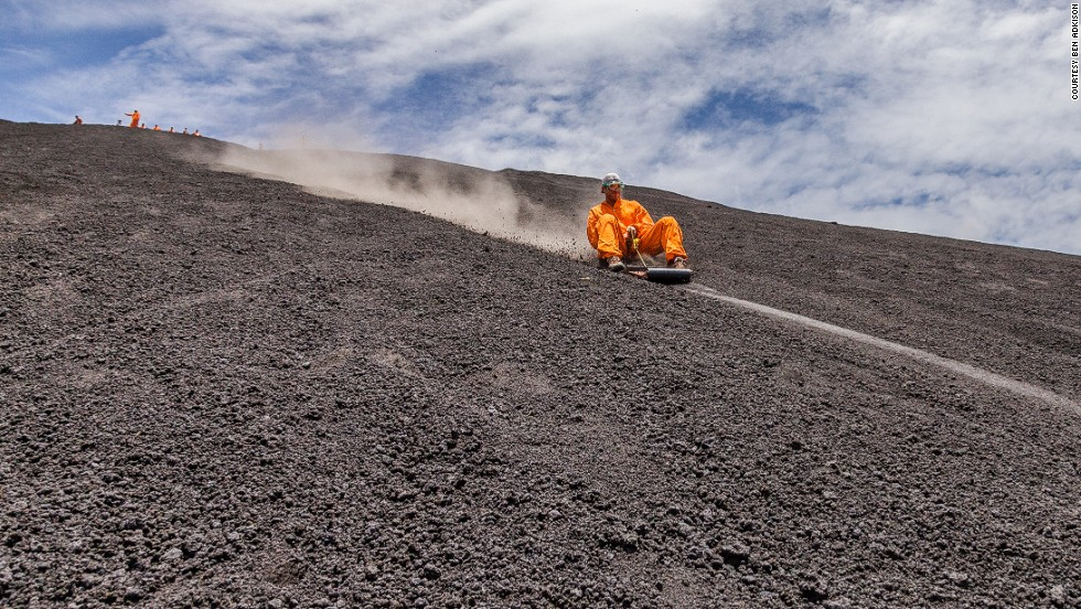 """""""Volcano boarding"""" on Cerro Negro volcano near Leon originated in 2004. Several local companies operate tours for visitors who slide down the hillside on small wood and metal board at speeds of up to 95 kph. Neither too large nor too small for careering down (roughly 1,500 feet from peak to base), the smooth, denuded conditions on Cerro Negro make it the ideal place for such lunacy."""