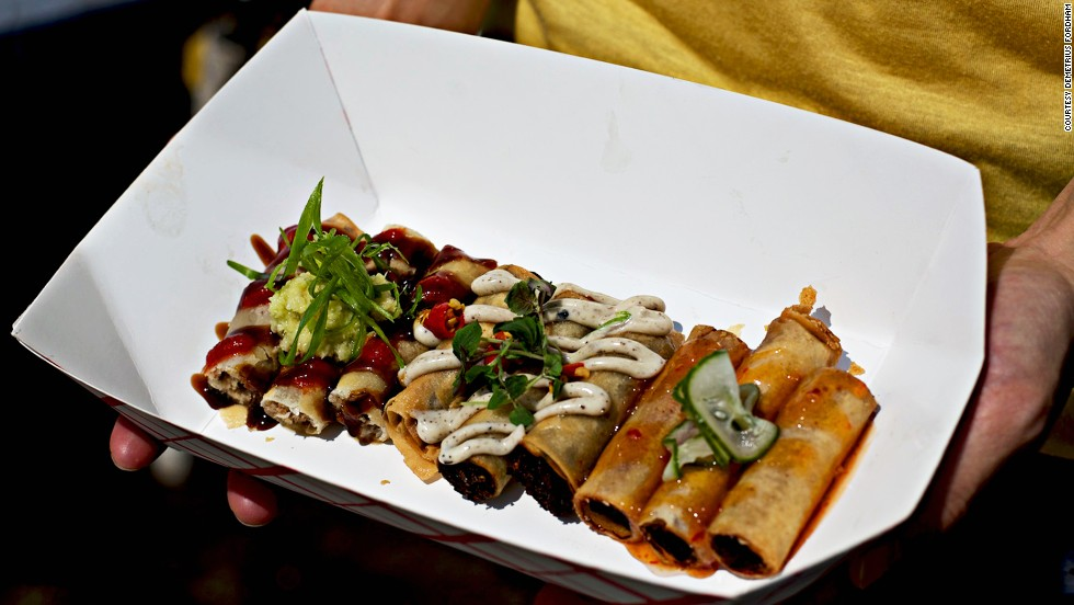 "At <a href=""http://www.lumpia-shack.com"" target=""_blank"">Lumpia Shack</a>, lines form as early as 11 a.m. each Saturday. Each roll is made with ground pork, roasted duck or truffled adobo mushrooms, hand-rolled, then deep-fried."