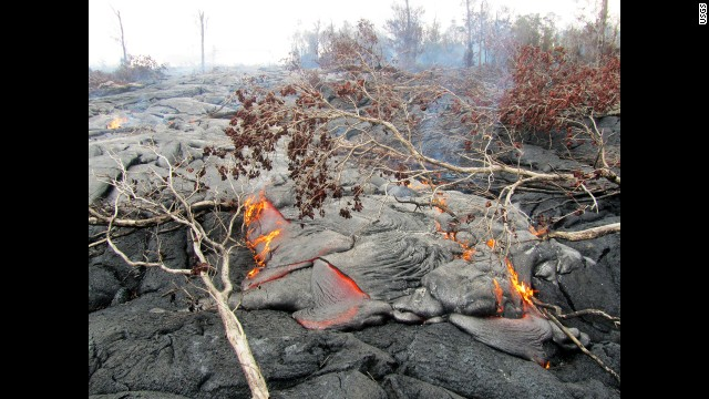 September 15, 2014 — Kīlauea A closer view of surface activity on the June 27th lava flow. This pāhoehoe flow consists of many small, scattered, slow-moving lobes burning vegetation.