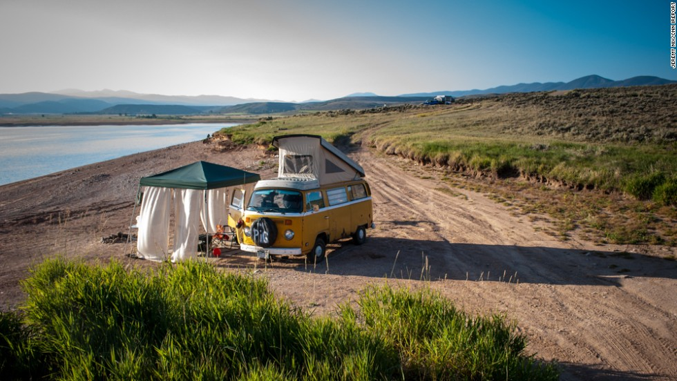 "It may look like we've gone back in time to the '70s, but that's<a href=""http://ireport.cnn.com/docs/DOC-1079160""> Jeremy Nix's </a>VW bus -- called ""The Pig"" -- in Williams Fork Reservoir, Colorado, a few summers ago. ""The reservoir is extremely low due to drought conditions, which gives the whole area that desolate landscape look. It was like we had the entire place to ourselves,"" he said."