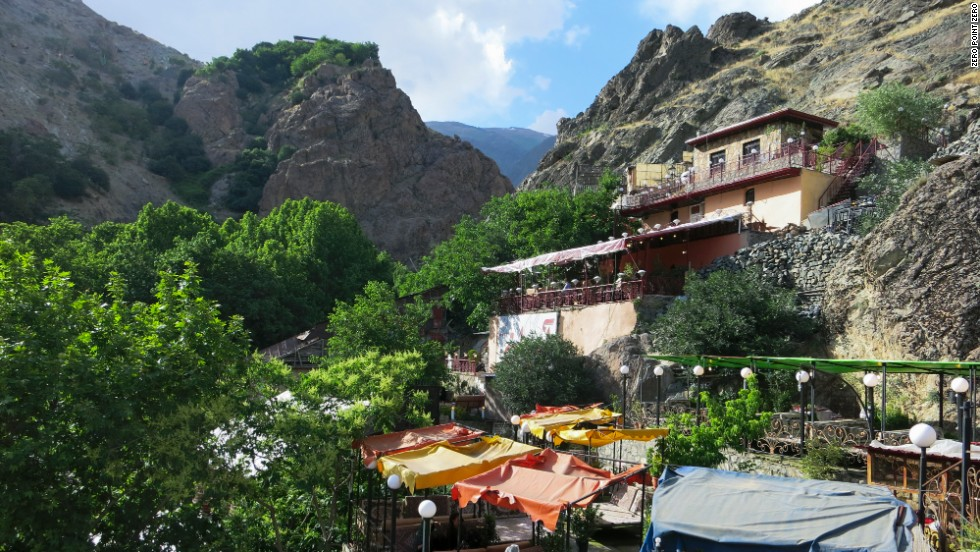 A series of beautiful restaurants is tucked up into the hillside of Darband, a mountainous neighborhood within Tehran's city limits.