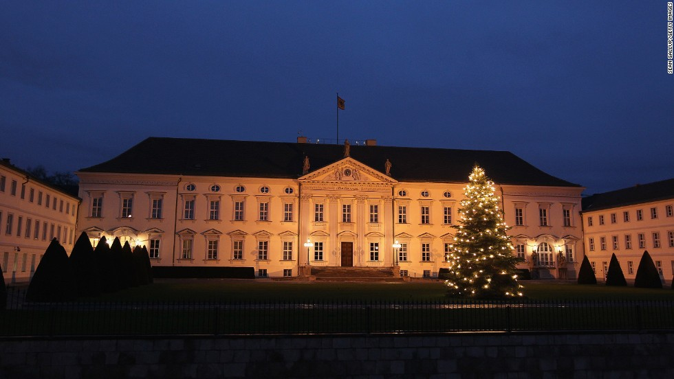 Schloss Bellevue presidential palace, or Bellevue Palace, is illuminated at sunset in Berlin on January 3, 2012.