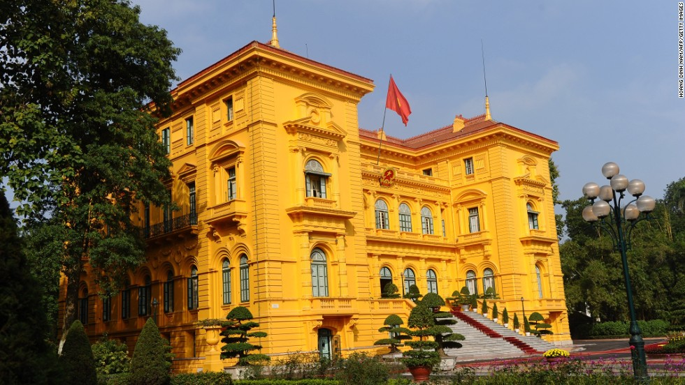 "The Vietnamese presidential palace in Hanoi is pictured here on December 17, 2012. <a href=""http://cnn.com/WORLD/9711/12/vietnam.france.summit/"">The palace was built at the beginning of the 20th century for the governor of French Indochina.</a>"