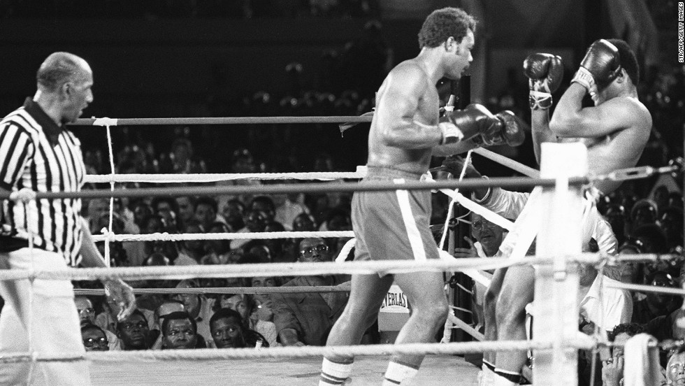 "A crowd of 60,000 packed into the 20th of May Stadium to see Ali, renowned for ""dancing"" across the ring, change his tactics for the fight, a move which ultimately undid the powerful Foreman. ""The idea it was some premeditated plan is nonsense,"" renowned British sportswriter Hugh McIlvanney opined. ""It was more of a triumph that such a brilliant improvisation had come to him in a crisis."" The tactic spawned the expression ""rope-a-dope"" as Ali lay on the boxing ring's ropes, thereby diminishing the power of Foreman's punching."