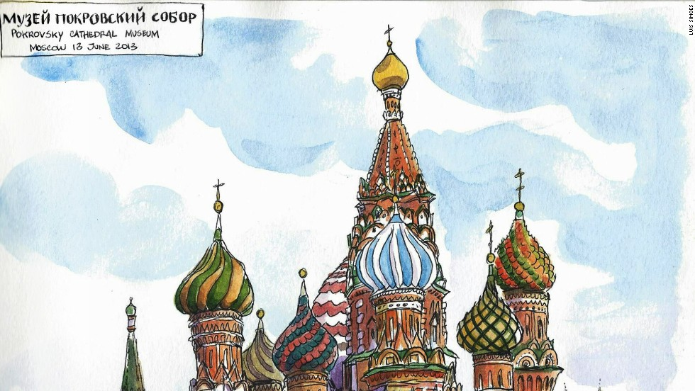 """<strong>Russia: </strong>So far he's made it through Europe and much of Asia, documenting his travels -- as well as, of course, posting his sketches -- on his bilingual <a href=""""http://www.worldsketchingtour.com/"""" target=""""_blank"""">blog</a> and on <a href=""""http://instagram.com/simonetti"""" target=""""_blank"""">Instagram</a>. He says that India, Nepal and maybe Southeast Asia are next on the list, although it's a """"vague plan."""""""