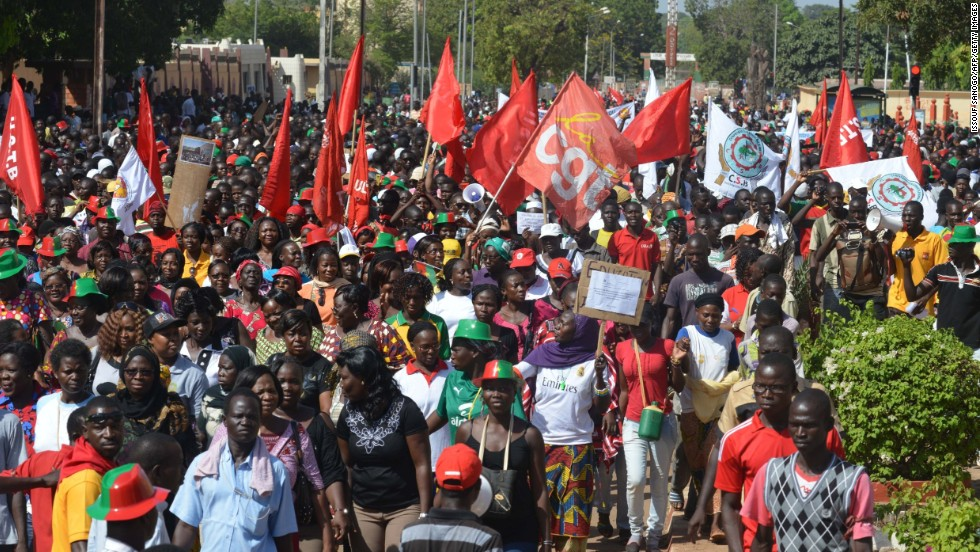 People gather October 29 to take part in a march protesting the cost of living in Ouagadougou.