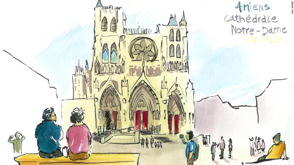 """<strong>France: </strong>He says that sketching the world has allowed him to frame things in a new light. """"I'm not just drawing a beautiful building, I'm trying to capture the life around the building, and how people connect with that building."""