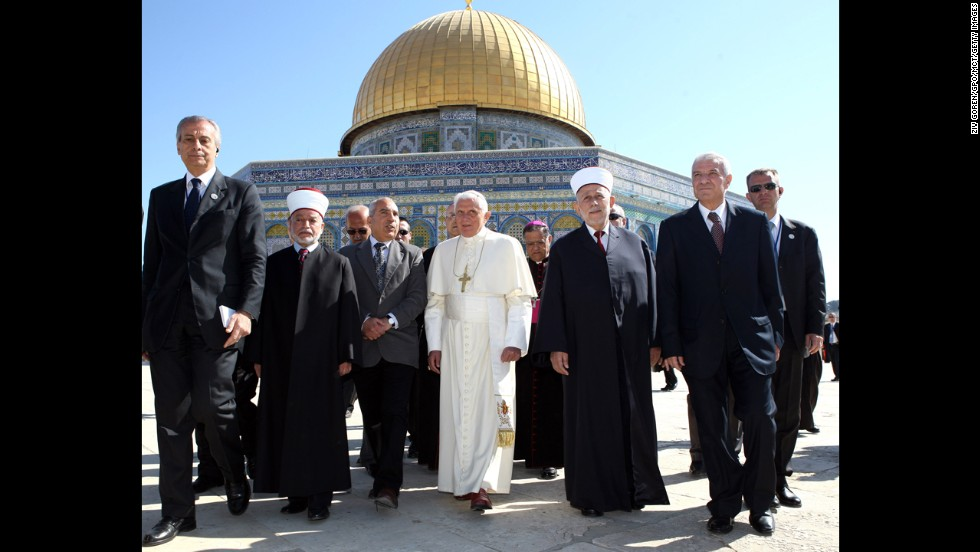 Pope Benedict XVI stands in front of the Dome of the Rock in May 2009.