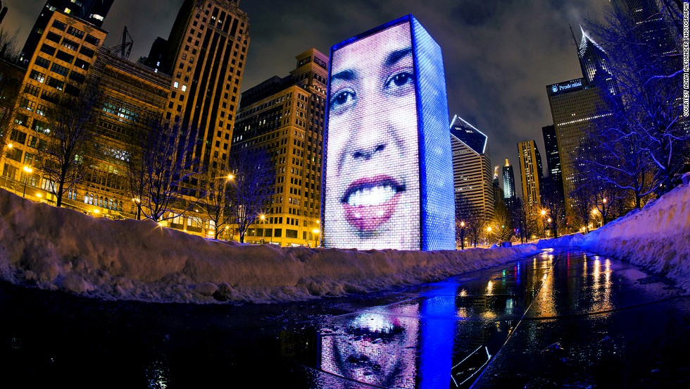 Chicago's Crown Fountain uses LEDs to display videos of Chicago residents on two glass towers. The clips show them puffing out their cheeks as water shoots out of a concealed nozzle.