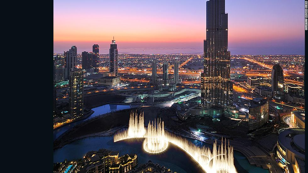 The Dubai Fountain sits in front of the Burj Khalifa and features five rings of jets that can shoot water 50 stories high.