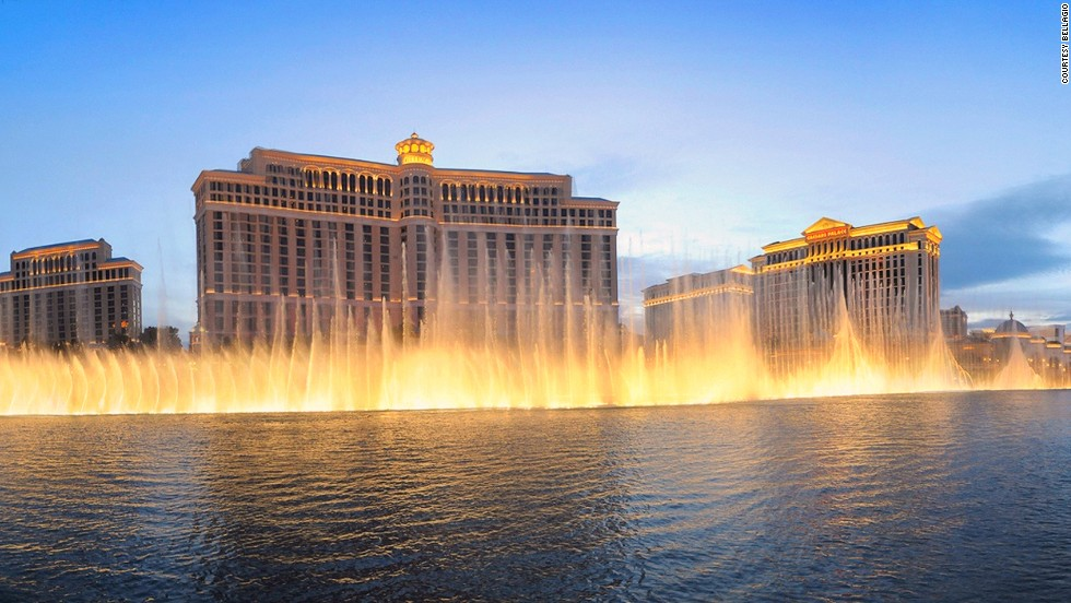 Las Vegas' Fountains of Bellagio shoot water up to 24 stories into the air. A team of 30 engineers (all qualified scuba divers) maintain the $40 million fountain.