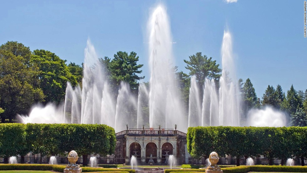 Located in Kennett Square, Pennsylvania, Longwood Gardens' various pools contain 380 nozzles, while 18 recirculation pumps propel water into the air.