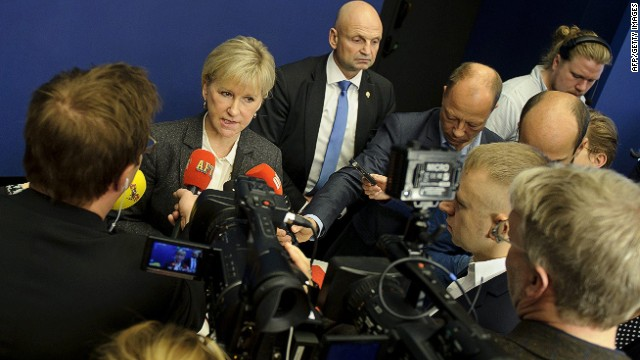 Sweden's Foreign Minister Margot Wallstrom (2nd L) answers journalists' questions on October 30, 2014 at the government building Rosenbad in Stockholm. Sweden officially recognised the state of Palestine, Wallstrom said, less than a month after the government announced its intention to make the controversial move. AFP PHOTO / TT NEWS AGENCY / ANNIKA AF KLERCKER / SWEDEN OUTAnnika af Klercker/AFP/Getty Images