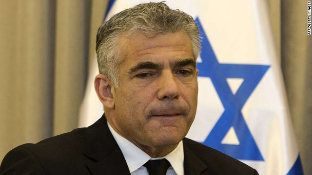 (FILES) A file picture taken on May 9, 2013 shows Israeli Finance Minister Yair Lapid talking during a meeting in Jerusalem. Lapid has decided to suspend the transfer of public funds to West Bank settlements pending a probe into their alleged misuse, his office said. AFP PHOTO/MENAHEM KAHANAMENAHEM KAHANA/AFP/Getty Images