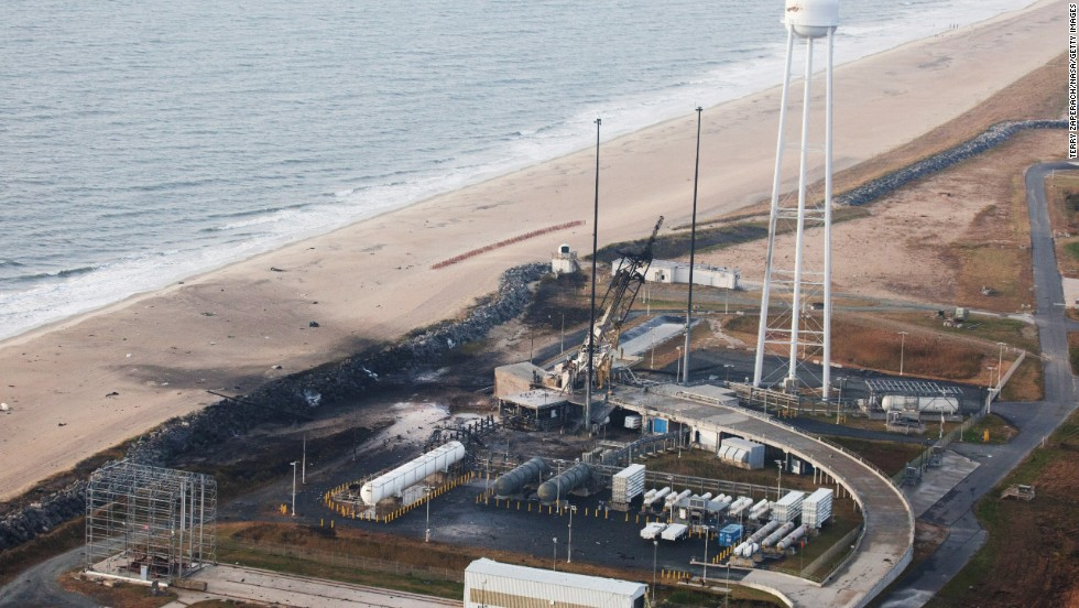 An aerial view shows damage to the Wallops Island, Virginia, launch facility following the rocket's explosion.