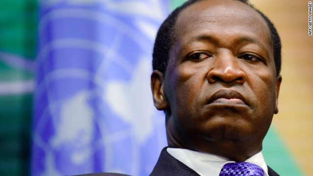 Burkina Faso President Blaise Compaore is showin is this file photo from November 12, 2008 in Geneva.