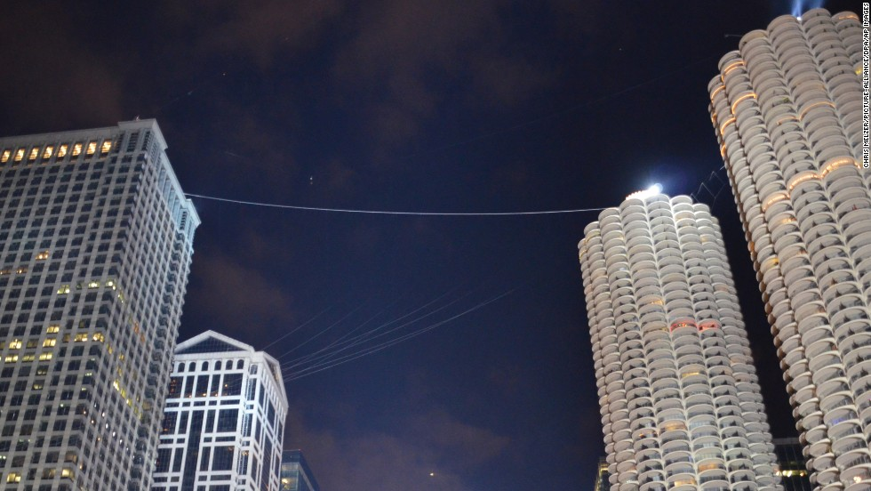 Aerialist Nik Wallenda traversed this wire in November 2014 above downtown Chicago.