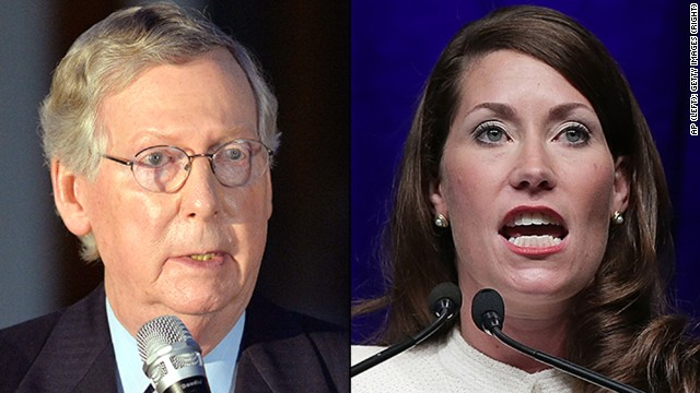 Left: Kentucky Sen. Mitch McConnell, and right,  U.S. Senate Democratic candidate and Kentucky Secretary of State Alison Lundergan Grimes.