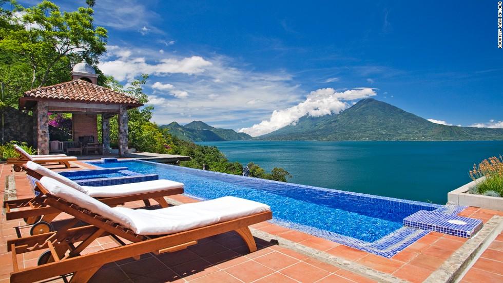 Who needs a beach? Casa Palopo overlooks Guatemala's Lake Atitlan and its three surrounding volcanoes.