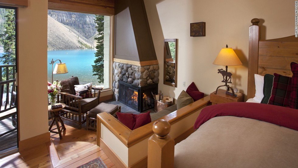 Guests at the Moraine Lake Lodge in Canada's Banff National Park enjoy the Rocky Mountains and glacial blue lake from private balconies.