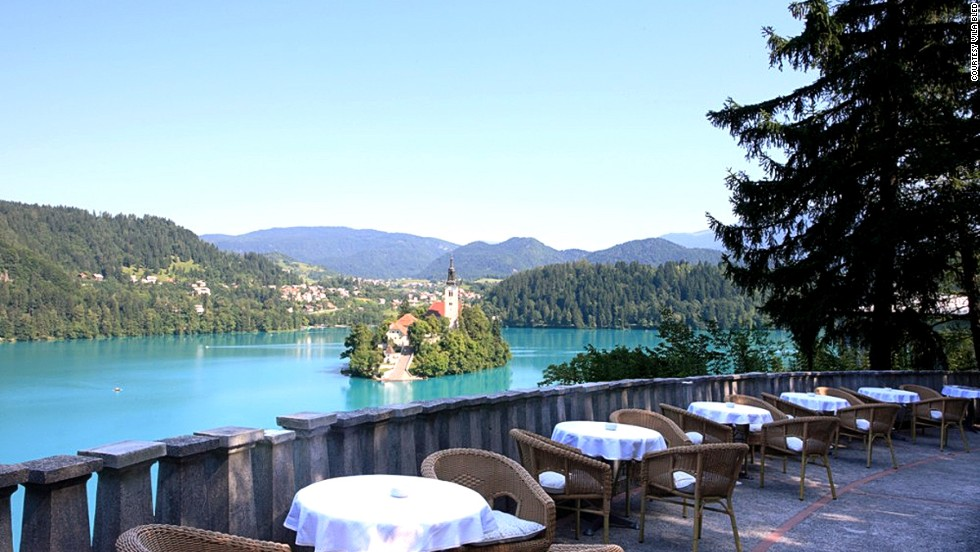 Once home to Yugoslavian leader Josip Tito, Slovenia's Vila Bled offers views of the 17th-century church on Lake Bled Island. You can stay in Tito's apartment, now fitted with a massage tub.