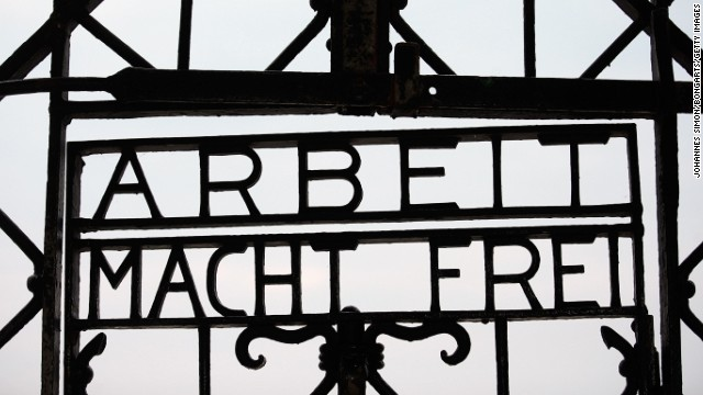 The entrance to the former Dachau labor prison camp in Dachau, Germany.