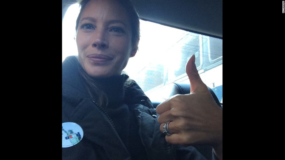 "Model Christy Turlington <a href=""http://instagram.com/p/u-x1OVoTgz/?modal=true"" target=""_blank"">posted this selfie to Instagram</a>, saying, ""I voted, did you NYC?"""
