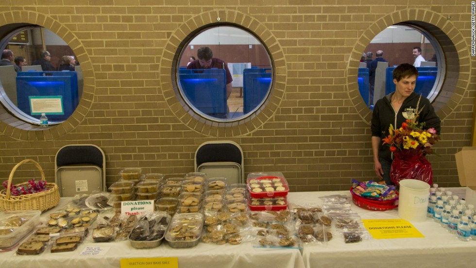 A bake sale is held outside Jefferson Elementary School, a polling place in Milwaukee.