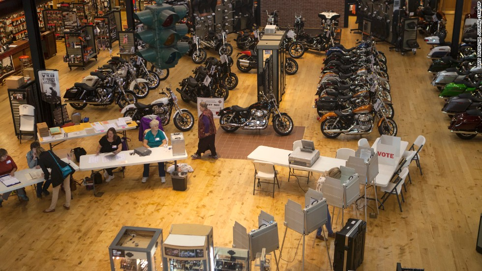People vote inside the Frontier-Harley Davidson store in Lincoln, Nebraska.