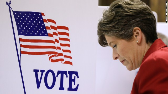 Republican Senate candidate State Sen. Joni Ernst casts her ballot in the general election, Tuesday, November 4 in Red Oak, Iowa. Ernst is running against Democrat U.S. Rep. Bruce Braley for the U.S. Senate seat of Tom Harkin, who is not seeking reelection.