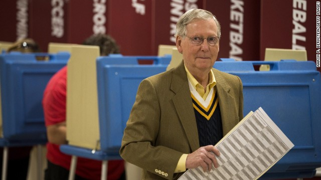 LOUISVILLE, KY - NOVEMBER 4: Senate Minority Leader U.S. Sen. Mitch McConnell (R-KY) holds his ballot after voting in the midterm elections at Bellarmine University November 4, 2014 in Louisville, Kentucky. McConnell is running in a tight race against opponent Kentucky Secretary of State Alison Lundergan Grimes. (Photo by Aaron P. Bernstein/Getty Images)