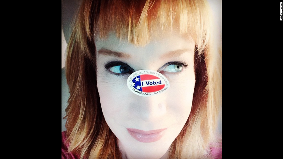 "Comedian Kathy Griffin <a href=""http://instagram.com/p/u_y3LRNDFH/?modal=true"" target=""_blank"">put her own spin</a> on the ""I voted"" selfie."