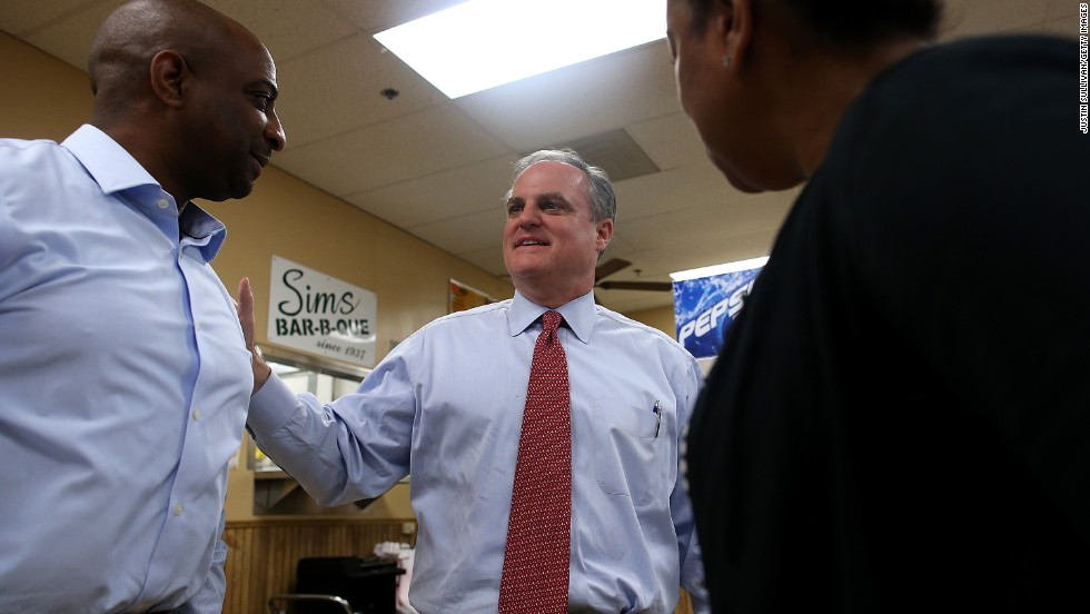 Pryor greets customers at Sim's BBQ, a restaurant in Little Rock, on November 4.
