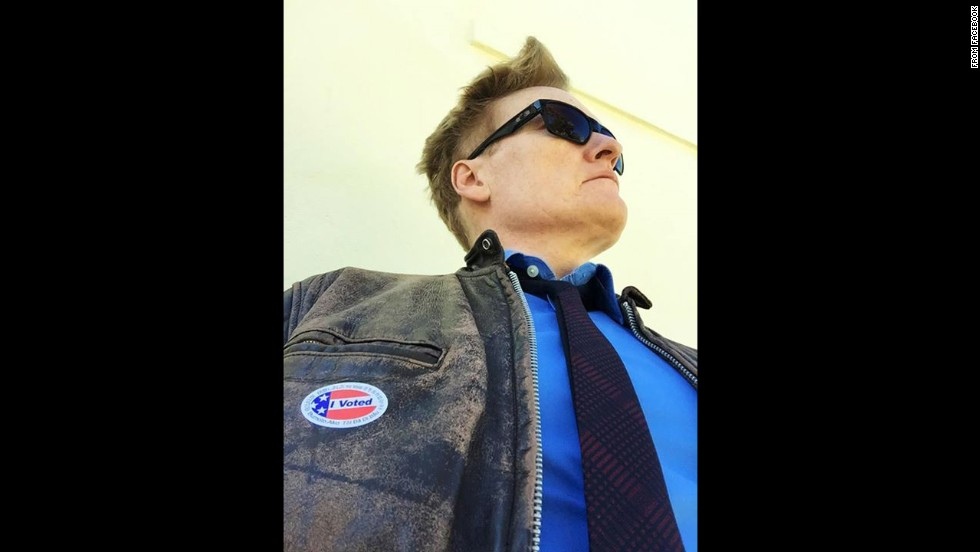 """I just voted, and now I look to the horizon with confidence,"" said Conan O'Brien <a href=""https://www.facebook.com/teamcoco/photos/a.109915929067298.5766.108905269168364/795301547195396/?type=1&theater"" target=""_blank"">on his show's Facebook page.</a>"