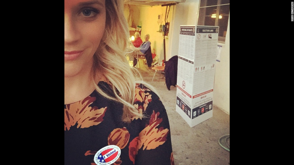 """Just voted!"" actress Reese Witherspoon <a href=""http://instagram.com/p/vAAWiZChUq/?modal=true"" target=""_blank"">said on Instagram.</a> ""Gotta love the USA and these nice people who opened their home and volunteered all day at the polls!"""