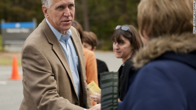 CORNELIUS, NC - NOVEMBER 4: U.S. Rep. Thom Tillis (R-NC) greets supporters, volunteers and voters on November 4, 2014, at Jetton Park in Cornelius, North Carolina. Tillis is running in a tight race for the North Carolina Senate seat against opponent U.S. Sen. Kay Hagan (D-NC) (Photo by Davis Turner/Getty Images)